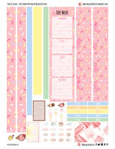 Honestly, this printable makes me crave strawberry ice cream. Arc Planner, Goals Planner, Planner Pages, Happy Planner, 2015 Planner, Blog Planner, Printable Planner Stickers, Journal Stickers, Free Printable