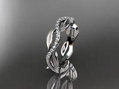 platinum diamond leaf and vine wedding by anjaysdesigns on Etsy, $1320.00