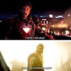 Iron man and Thor Dc Movies, Marvel Movies, Films, Marvel Dc, Marvel Funny, Loki, Thor, Iron Man, Captain America