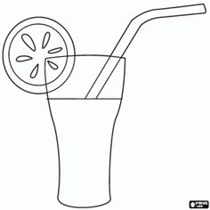 Soft drink with a slice of fruit and a straw coloring page