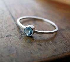 Aquamarine  sterling silver ring with bezelset by junedesigns, $37.00