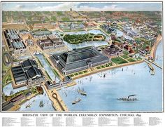 Chicago World's Fair of 1893! Note the itty bitty Ferris Wheel almost on the horizon.