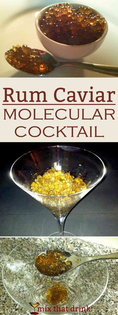 This Rum Caviar recipe makes little solid balls of rum that break open in your mouth just like fish eggs. They're like a more grown-up version of alcoholic gummy bears. They taste just like rum, so they're great in drinks, on ice cream, etc.