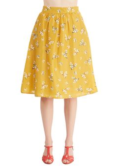 Study Brunch Skirt. Gather your books, your buddies, and the bunches of white wildflowers printed on this rich yellow skirt for the most stylish study sesh there ever was! #yellow #modcloth