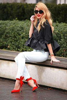 black top, white jeans, red heels @roressclothes closet ideas #women fashion…
