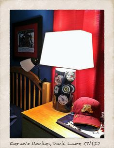 Hockey Puck Lamp totally doable for Logan and Carter