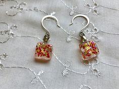Orange Yellow Glitter Glass Dangle Earrings Doodaba Glass Earrings, Silver Earrings, Drop Earrings, Vintage Pink, Vintage Ladies, Yellow Glitter, Orange Earrings, Swarovski Pearls, Handmade Items