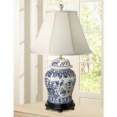 English Floral Hand-Painted Porcelain Ginger Jar Table Lamp - #K3344 | Lamps Plus