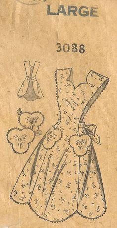 1940s Vintage Sewing Pattern APRON B36