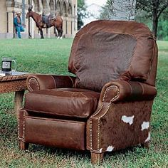 This is another one of my chairs- the recliner. When I ordered a Queen Ann recliner in white leather with nail heads back in the I . Western Furniture, Farmhouse Furniture, Rustic Furniture, Cool Furniture, Furniture Ideas, Leather Lounge, Leather Recliner, Leather Sofas, Leather Furniture