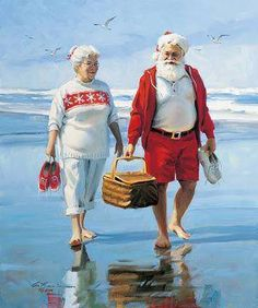 Barefoot on the Beach canvas print.Mr & Mrs Santa before the Christmas rush! Love this picture of the Claus's! Beach Christmas, Coastal Christmas, Noel Christmas, Father Christmas, Winter Christmas, Vintage Christmas, Christmas Vacation, Aussie Christmas, Christmas Couple