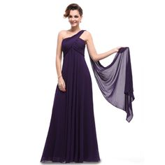 Ever-Pretty Ever Pretty One Shoulder Padded Ruffles Fashion Long Evening Dresses