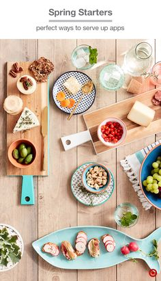 With colorful dishes and serveware, you'll always be ready for spring and summer entertaining. Wooden serve boards like these are perfect for cheese plates and the ceramic fish-shaped plate is so seasonally fun. Patterned terracotta small bowls and plates are appetizer-ready and a vibrant, finishing touch to your tabletop.