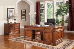 Grand Manor Granada Double Pedestal Executive Desk | Parker House | Home Gallery Stores