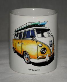 Classic Car Mug. VW Campervan hand drawn by GMorganIllustration