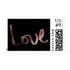 Faux Rose Gold Foil Hand Lettered Love Typography Postage - gold wedding gifts customize marriage diy unique golden