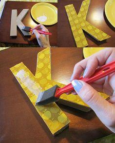 fabric letter diy step 2