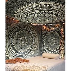 Indian Mandala Wall Hanging Tapestry, Hippie Hippy Tapestries, Feather Peacock Print Tapestry, Cotton Handmade Badsheet, Twin Size Bedding Bedspread, Picnic Beach Sheet, Table Cloth, Decorative Wall Hanging, 54x86 Inch. By Bhagyoday by BhagyodayFashions: Amazon.fr: Cuisine & Maison