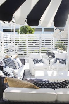 Outdoor furniture - white couches