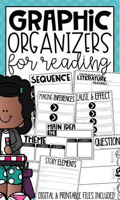 Using Graphic Organizers to teaching Reading Skills, such as Theme, Main Idea, Sequence, Story Elements, and Cause & Effect, are the perfect way to increase understanding and engagement. Give your students a purpose for reading.