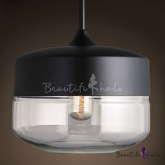 Short Round Mini Industrial Black/White Socket Pendant Light