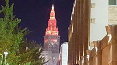 Cleveland ohio Terminal Tower taken from Progressive field at Indians game