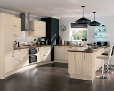Cream kitchen , dark wood worktop, swop black for blue Wood Worktop Kitchen, Kitchen Flooring, Brown Kitchens, Home Kitchens, Cream Kitchens, Fitted Kitchens, Kitchen Interior, New Kitchen, Kitchen Ideas