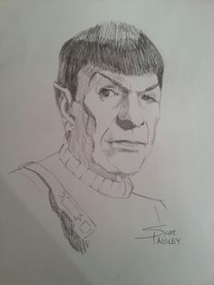 Here's a sketch I did of Leonard Nimoy as Spock.