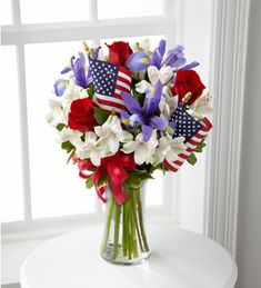 The Unity Bouquet sparks the hearts of all Americans with its patriotic beauty and dazzling color.