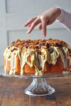 Leftover Halloween candy? Make this Butterfinger Bundt Cake!!