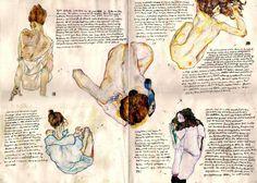 """nausica-of-wind: """" Egon Schiele from Schieles notebook """" Renderings of Egon's Schiele's art by ObjectivelyArtsy"""