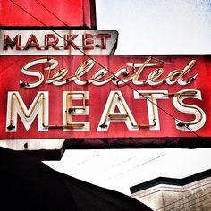 CITY MEAT MARKET ADVERTISING METAL SIGN