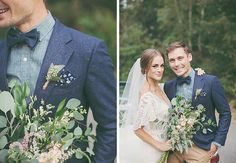 Many blues look sensational together, as evidenced by this groom's suit jacket with chambray shirt, layered bow tie, and floral pocket square. The khaki pants make the look a little less formal, and would fit right in at a rustic-chic affair.
