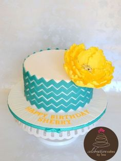 Chevron Teal and Flower