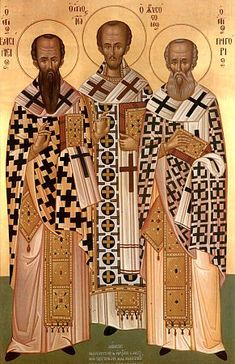 Basil the Great, St. John Chrysostom, and St. Gregory the Theologian. John Chrysostom, Religious Paintings, Church History, Orthodox Icons, New Testament, Christianity, Saints, Angels, Statue