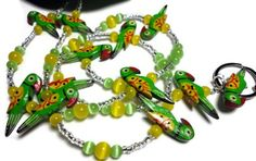 #Lanyard #Necklace Colorful #Parrot Bird Green Yellow Fashion Id #Jewelry by @PinkCloudsAndAngels Artfire #PinkCloudsAndAngels #ArtFire