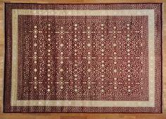 10' x 14' Oriental Rug 300 kpsi Wool and Silk Hand Knotted Burgundy Kashan