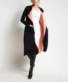 Another great find on #zulily! Black & Salmon Two-Tone Open Cardigan #zulilyfinds