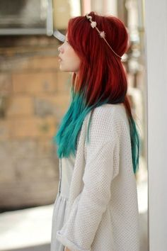 Lovely Dyed Locks- Unexpected but gorgeous color combination.