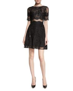 MARCHESA NOTTE Short Sleeve Flared Lace Cocktail Dress $695 (COMPARE ELSEWHERE AT $800) annesofnewyork.com