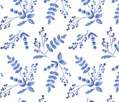 Indigo Florals-Coord fabric by kimbliss on Spoonflower - custom fabric Watercolor Pattern, Watercolor Flowers, Transitional Wallpaper, Garden Drawing, Fabric Wallpaper, Surface Pattern Design, Repeating Patterns, Aesthetic Wallpapers, Spoonflower