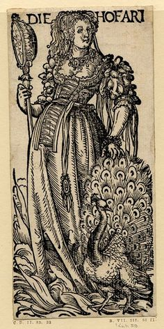 WL female figure with a mirror and peacock, flames rising at her feet; from a series of seven woodcuts.  c.1510  Woodcut
