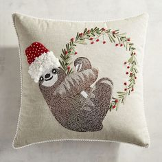 Embroidered Holiday Sloth Pillow