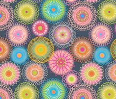 Made with a spirograph!!!  Supernova SpiroGeekChic fabric by groovity on Spoonflower - custom fabric
