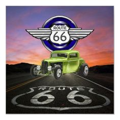 Route 66 - Vintage - Classic Car - SRF Poster by sharonrhea