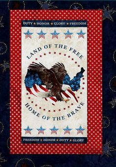 Quick and easy Stars And Stripes Quilt Kit. Easy enough for a beginner. Uses the Stars And Stripes American Eagle panel by Stonehenge for Northcott and coordinating fabrics. This Stunning Patriotic panel features all American red, white and blue c...