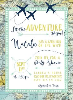 Having a travel theme baby shower? This invite includes it all--maps, airplanes and adventure!  All products are made to order, and fully customizable. Colors, wording and fonts can all be changed to achieve your needs.  This listing is for a customized 5x7 digital file. To have invitations printed, add this to your order: https://www.etsy.com/listing/399449965  How to purchase:  1. Add invite to your cart  2. Add printing services if needed: https://www.etsy.com/listing/399449965 3. In the…