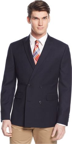 $99, Navy Wool Double Breasted Blazer: Bar III Slim Fit Navy Textured Double Breasted Sport Coat. Sold by Macy's. Click for more info: https://lookastic.com/men/shop_items/330585/redirect