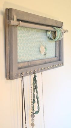 Hanging Jewelry Organizer for Bedroom Wall, Small Space Living, Gift for Mom, Jewelry Holder Wall Mounted, Earring Organizer Screen - Jewelry Organizer Diy Jewelry Holder Wall, Jewelry Wall, Hanging Jewelry Organizer, Mom Jewelry, Jewellery Holder, Jewelry Hanger, India Jewelry, Travel Jewelry, Jewelry Findings