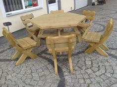 Furniture Patio Set Wooden 6 Chairs